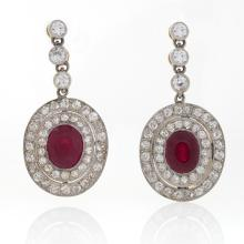 Edwardian Ruby and Diamond Earrings set in Platinum-topped Gold