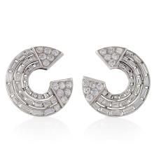 French Art Moderne Diamond and Platinum Earrings