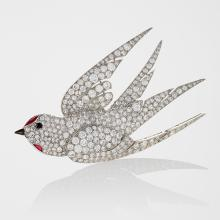 French Art Deco Diamond, Ruby, and Platinum Dove Brooch