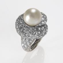 Mid 20th Century Platinum, Diamond and Pearl Ring