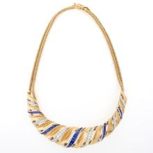 French Retro  Gold and Platinum, Diamond and Sapphire Necklace