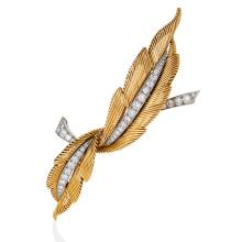 Van Cleef & Arpels Mid-20th Century 'Two Feathers' Diamond, Gold and Platinum Brooch