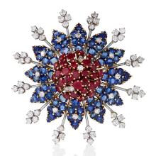 Mid-20th Century Ruby, Diamond and Sapphire Star Brooch