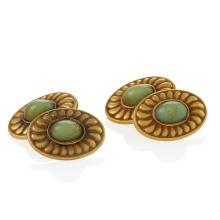 Pickslay & Co. Arts & Crafts Chrysoberyl and Gold Cuff Links