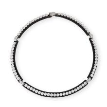 Marsh Mid-20th Century Pearl, Diamond, Patinated Steel, and Platinum Necklace