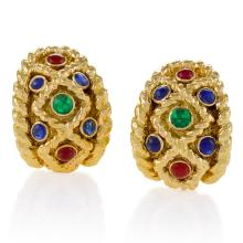 David Webb Mid-20th Century Sapphire, Ruby. Emerald and Gold Earrings