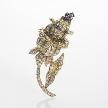 LaCloche Paris Diamond, Sapphire and Gold Flower Brooch