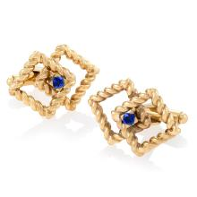 Tiffany & Co. Mid-20th Century Sapphire and Gold Cuff Links