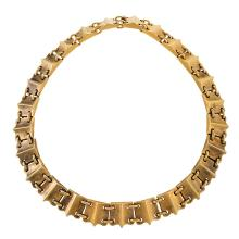 English Victorian Bloomed Gold Link Necklace