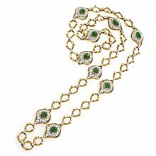 O.J.Perrin Paris Diamond, Emerald, Gold and Platinum Link Necklace