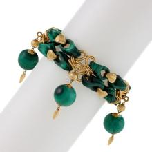 French Antique Malachite and Gold Bracelet