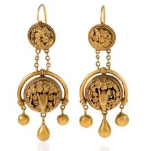 Etruscan Revival Gold Ram's Head Girandole Earrings