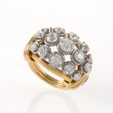 Van Cleef & Arpels Diamond, Gold and Platinum Bombé Ring