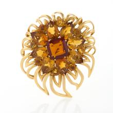 Cartier London Mid-20th Century Citrine and Gold Flower Brooch