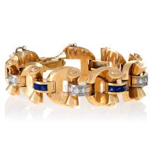 J.E.Caldwell Retro Diamond, Sapphire and Gold Link Bracelet