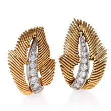 Van Cleef & Arpels Mid-20 Century Diamond Platinum and Gold Leaf Earrings