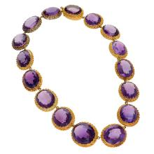 Antique Amethyst and Gold Rivière Necklace