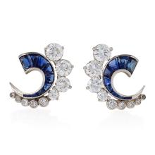 French Art Deco Diamond and Sapphire Half Moon Earrings