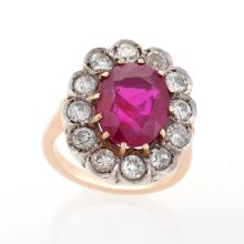 Antique Diamond and Ruby Cluster Ring
