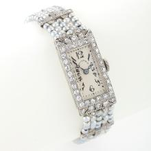 Dreicer & Co Art Deco Diamond, Seed Pearl, Platinum and Gold Wrist Watch