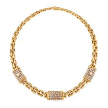 Cartier Paris Late-20th Century Diamond and Gold 'Trinidad' Link Necklace