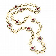 O.J.Perrin Paris Diamond, Ruby, Gold and Platinum Link Necklace