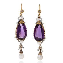English Antique Amethyst, Pearl, Diamond, Enamel and Gold Earrings