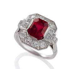 Art Deco Red Spinel, Diamond and Platinum ring