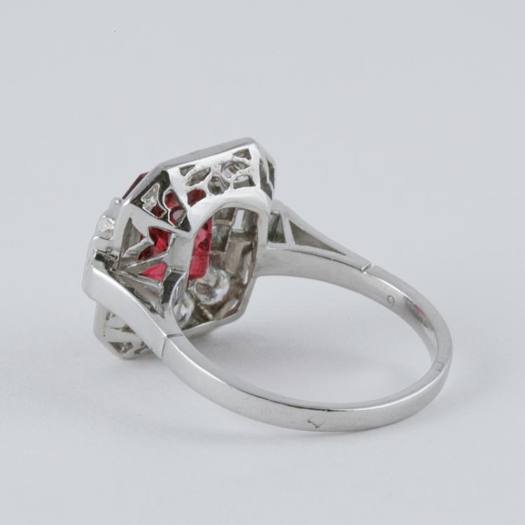 deco spinel and platinum ring