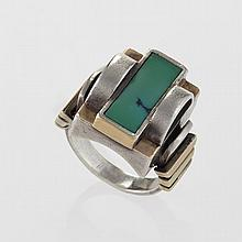 Jean Després Art Deco Turquoise, Gold and Silver Ring