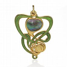 Edward Colonna French Art Nouveau Abalone Pearl, Enamel and Gold Pendant