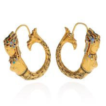 Assyrian Revival Antique Gold and Enamel Earrings