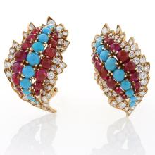 David Webb Mid-20th Century Diamond, Ruby and Turquoise Earrings