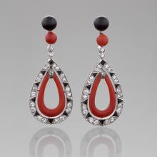 French Art Deco Coral, Diamond, Onyx and Platinum Earrings
