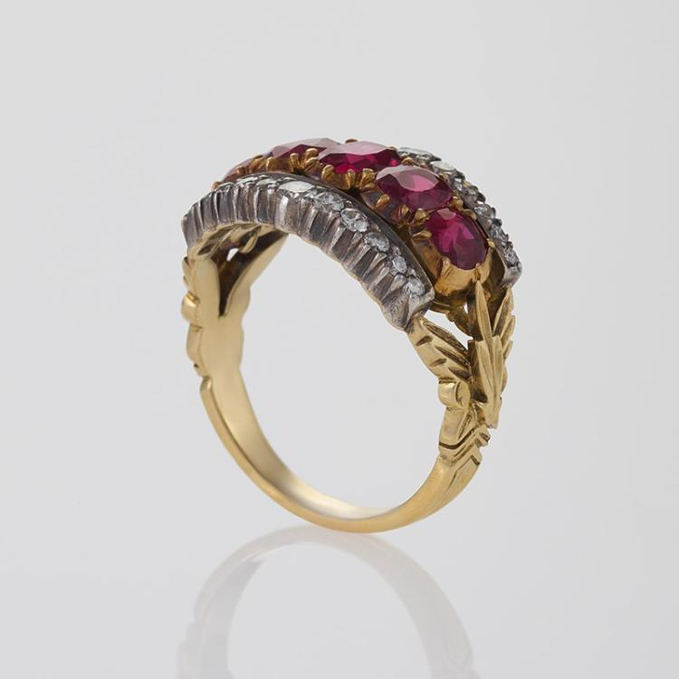 antique ruby gold and silver ring