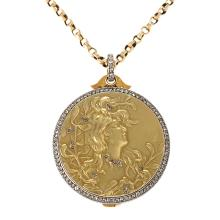 Comte D' Epinay De Briort Art Nouveau Gold, Diamond and Platinum Pendant Locket Necklace
