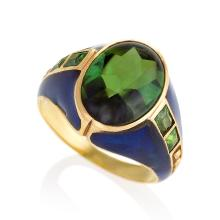 Louis Comfort Tiffany Art Nouveau Peridot, Enamel and Gold Ring