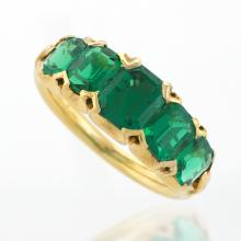 Antique English Five-Stone Emerald Ring