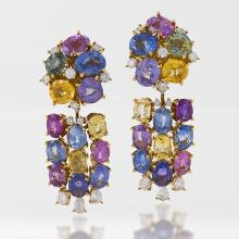 Meister Swiss Late-20th Century Sapphire, Diamond and Gold Earrings