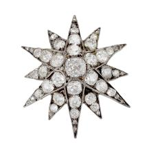 English Antique Diamond and Silver Top Gold Star Brooch