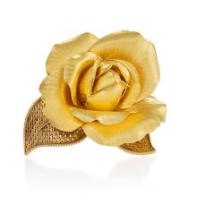 Gübelin Mid-20th Century French Gold Rose Brooch