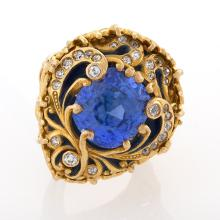 Marcus & Company Blue Sapphire, Old European Diamond, Gold and Enamel Ring