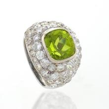 René Boivin Art Deco Platinum, Peridot and Diamond Ring