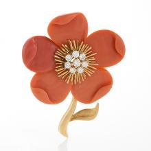 Van Cleef & Arpels Paris Mid-20th Century Coral, Diamond and Gold