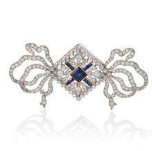 Cartier Paris Belle Epoque Diamond, Blue Sapphire, Gold and Platinum Ribbon Brooch