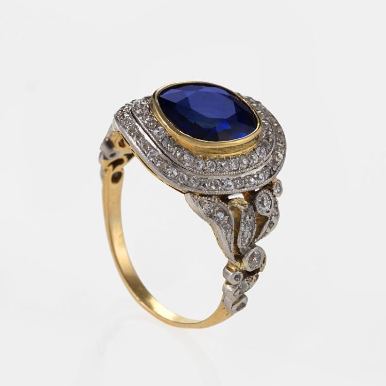 epoque sapphire platinum and gold ring