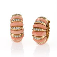 Van Cleef & Arpels Paris Mid-20th Century Coral, Diamond and Gold Earrings
