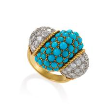 Cartier Mid-20th Century Turquoise, Diamond and Gold Cocktail/Dinner Ring