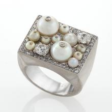 Cartier London Art Deco Platinum and Diamond Ring with Pearls