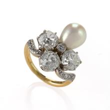 Marcus & Co. Early-20th Century Diamond, Natural Pearl, Platinum and Gold Ring